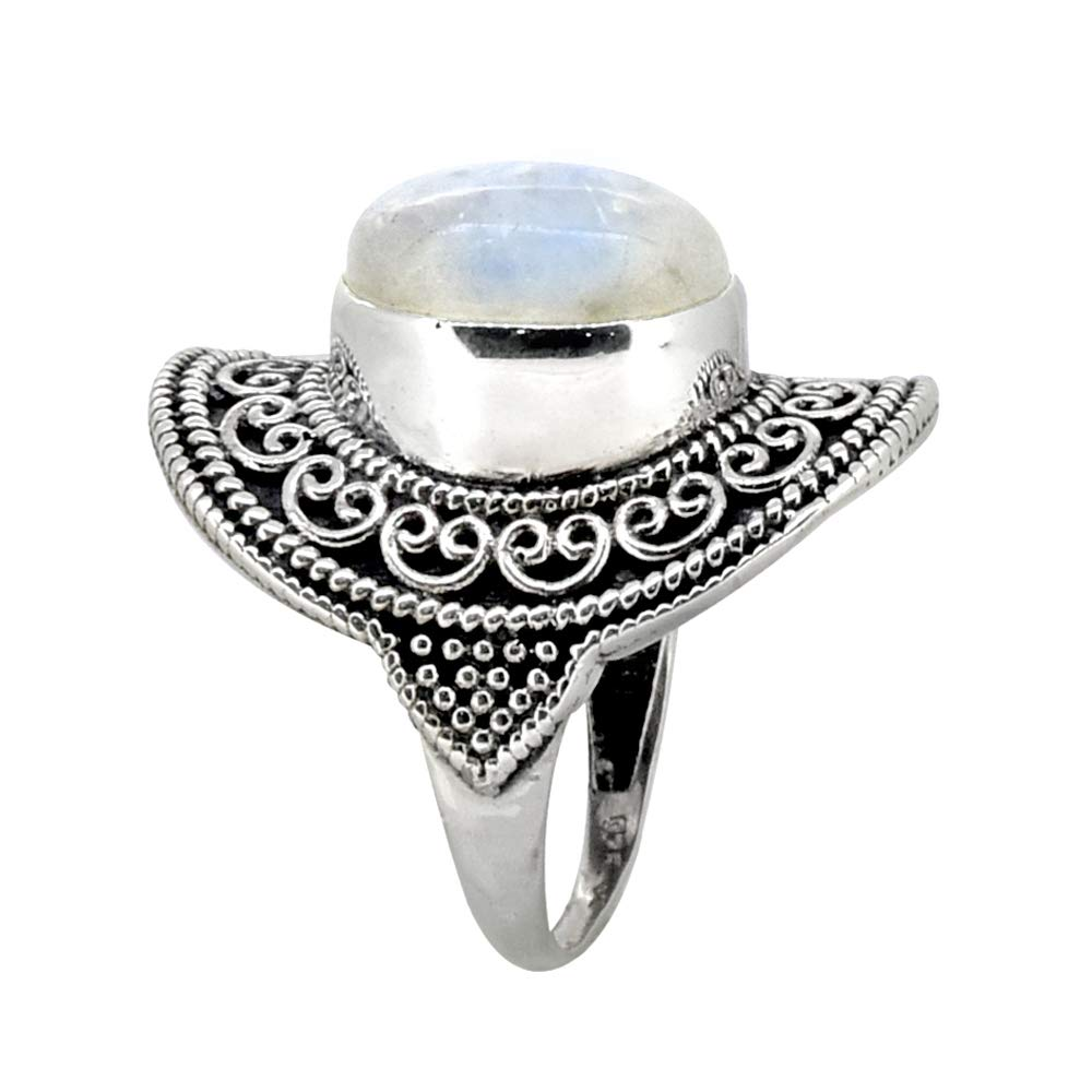 YoTreasure Moonstone Ring Solid 925 Sterling Silver Jewelry