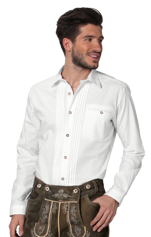 Stockerpoint Trachtenhemd klassisch mit Biesen - Mika - weiß