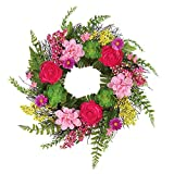 Collections Etc Lush Pink Floral Twig Door Wreath with Succulents & Fern Greenery