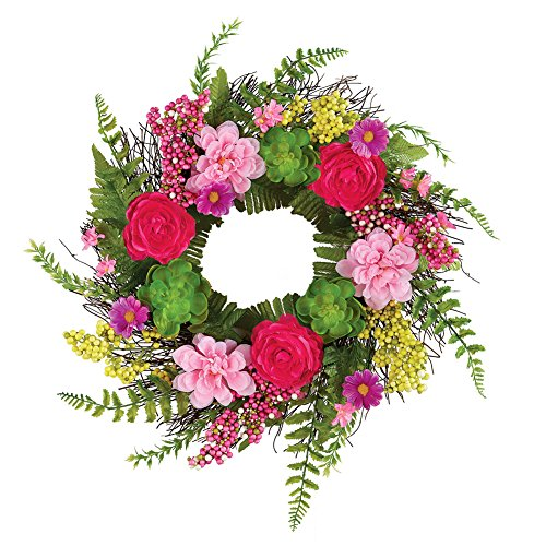Collections Etc Lush Pink Floral Twig Door Wreath with Succulents & Fern Greenery by Collections Etc