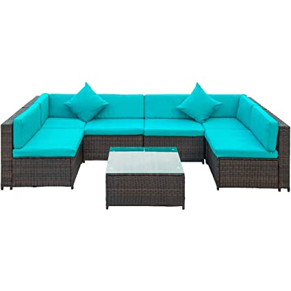 Marvelous Lz Leisure Zone Merax Patio Furniture Set Pe Rattan Sectional Garden Furniture Corner Sofa Set 7 Pieces Blue Beatyapartments Chair Design Images Beatyapartmentscom