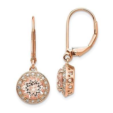 Icecarats 14 K Or Rose Diamant Morganite Ronde Dormeuses Pendants