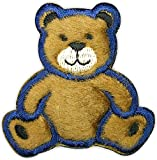 "[1 Count] Custom and Unique (2"" x 2.13"" Inch) ""Toys"" Children's Fuzzy Texture Stuffed Animal Teddy Bear Design Iron & Stick On Adhesive Embroidered Applique Patch {Brown, Blue, Black & White Colors}"