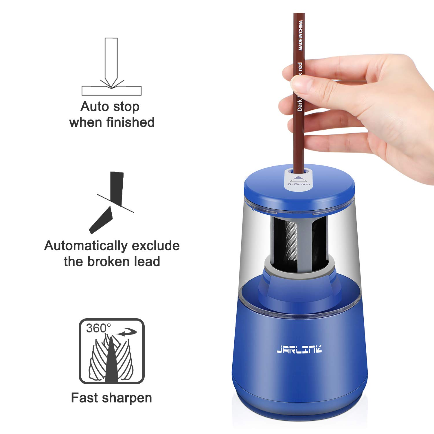 JARLINK Electric Pencil Sharpener Auto Stop for No.2//Colored Pencils USB//AC Adapter Included Heavy-Duty Helical Blade to Fast Sharpen 6-8mm USB//Battery Operated in School Classroom//Office//Home