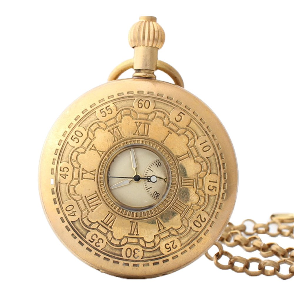Shirleyle Retro Clamshell Golden Pocket Watch Boutique Men's And Women's Business Mechanical Pocket Watch With Chain