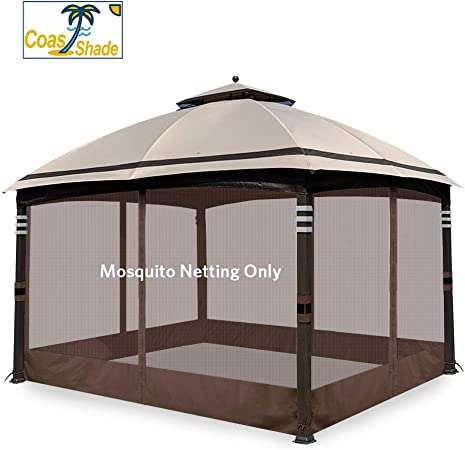 Amazon Com Coastshade Universal 10 X 12 Gazebo Replacement Adjustable Mosquito Netting Screen Walls For Canopy With Zippers For Parties And Outdoor Activities 10x12 Brown Garden Outdoor
