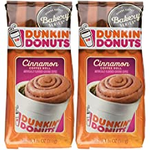 Dunkin' Donuts Bakery Series, Cinnamon Coffee Roll Ground Coffee - 11 Ounce Bags Pack Of 2