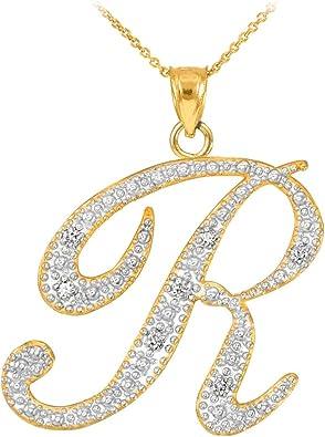 14 kt Yellow Gold 14k R Script Initial Pendant