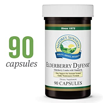8224b8867812 Nature's Sunshine Elderberry D3fense, 90 Capsules | Elderberry Supplement  with Powerful Vitamin D, Sambucus
