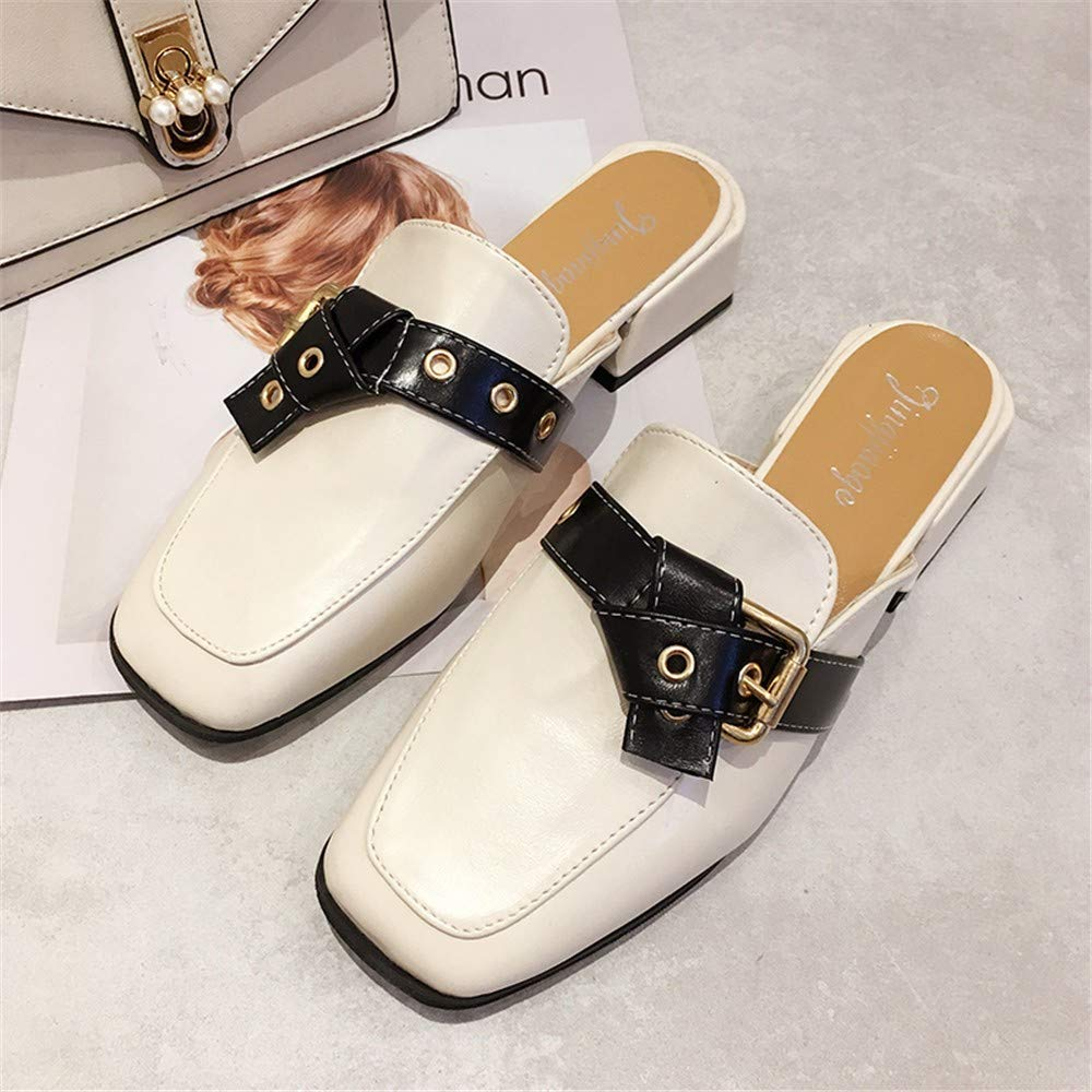 Baotou Half Slippers Female 2019 Spring New Square Head Belt Buckle Korean Version of Wild Sandals Fashion Thick with Shoes Tide