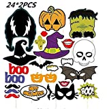 Photo Booth Props For Halloween Party Terror Mask On A Stick, Pack Of 24, 2PCS