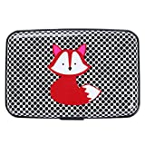 Vichline Aluminum RFID Blocking Armor Wallet Identity Protection Travel Credit Card Holder for Men and Women - Cool Slim Metal Business Card Case (Dot Fox)