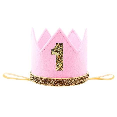 1º 2º 3º Fiesta de Cumpleaños con Lentejuelas Corona Sombrero Nuevo Estilo Rose Encaje Corona Banda para el Pelo Banda Decoración Elástica Diadema