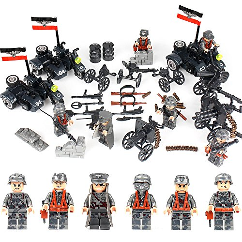 Army Infantry Set - KAZI WW2 German Soldiers Army Minifigures Set - Motorized Infantry Regiment with Military Motorcycles/Antiaircraft Guns/Artillery,Building Bricks 100% Compatible