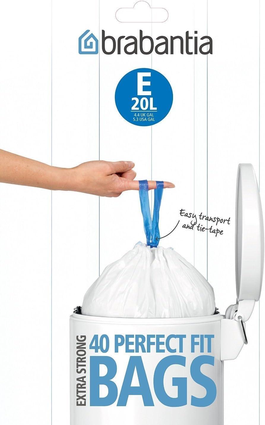 120 Easy Tie Durable Heavy Duty 5 Litre Bin Liner Bags For Brabantia Bin Size B