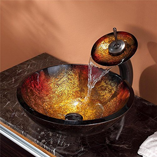 new Kraus GV-680-19mm-ORB Mercury Glass Vessel Bathroom Sink with PU-MR Oil Rubbed Bronze