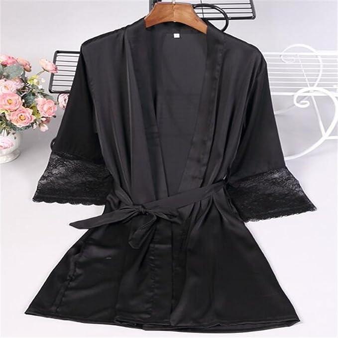 La Mujer Batas Camisones Encaje Seven-Sleeve Bandas Tamaño Casual Batas ,Negro,m