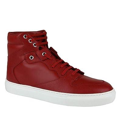 028926974b1 Balenciaga Men s Hi Top Dark Red Leather Coated Canvas Sneaker 391205 6479  (IT 41