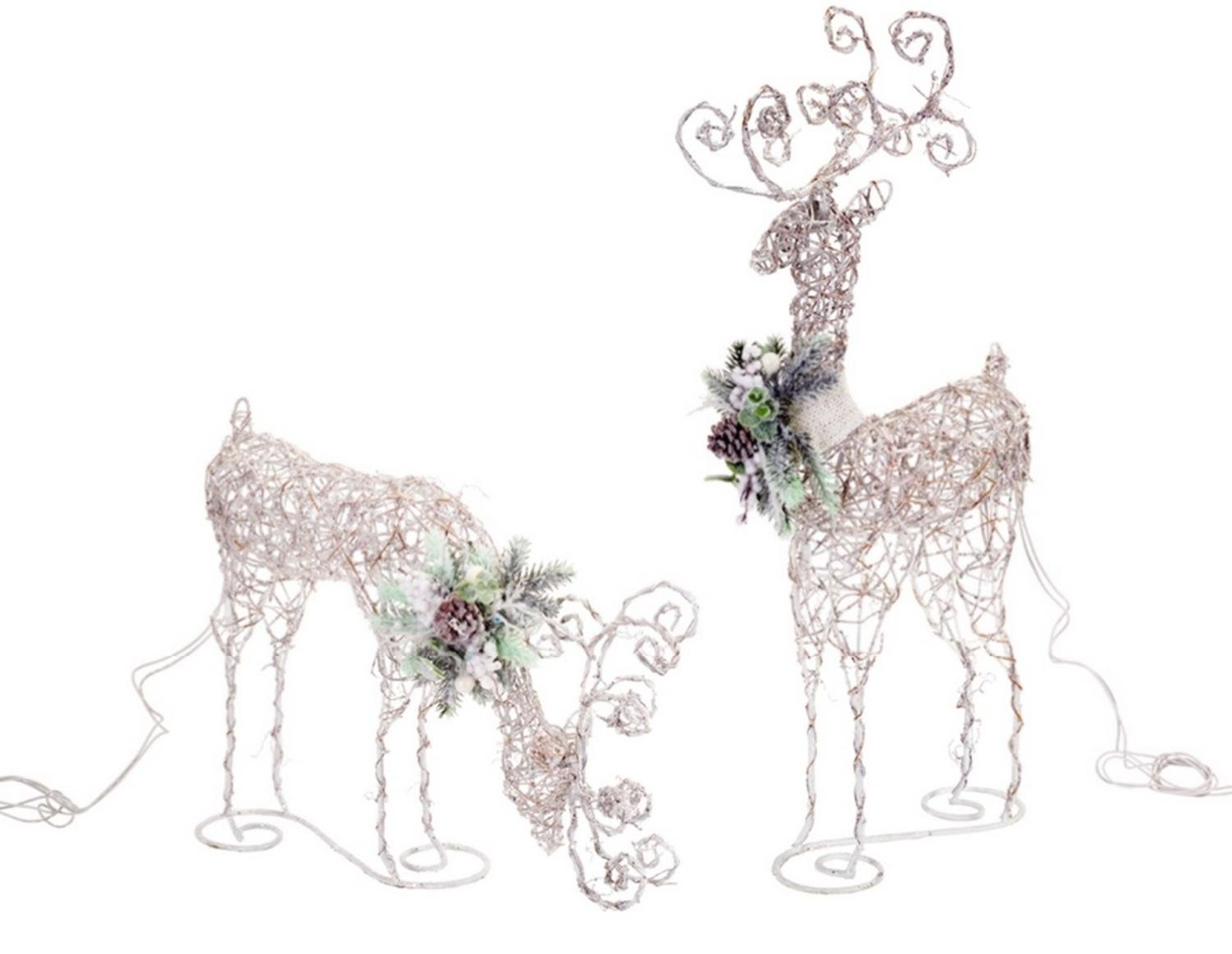 Pack of 4 LED Standing and Eating Snowy Deer 25''