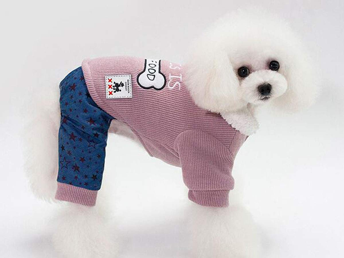 Dog Autumn and Winter Clothes, Small Dog Teddy VIP Clothing (Green, Pink, S-XXL) (color   Pink, Size   L)