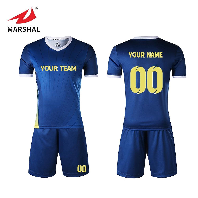 Amazon Marshal Jersey Custom Soccer Uniforms Blue Soccer Team