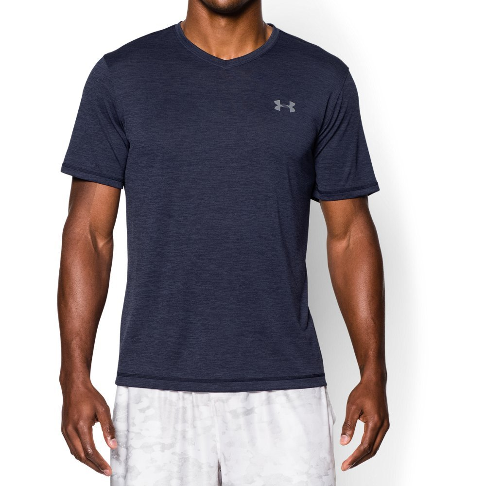 Under Armour Men's Tech V-Neck T-Shirt, Midnight Navy /Steel, XXX-Large by Under Armour