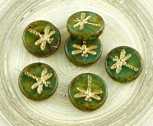 4pcs Picasso Crystal Green Brown Striped Travertine Matte Gold Wash Rustic Dragonfly Flat Coin Round Opal Czech Glass Beads 17mm