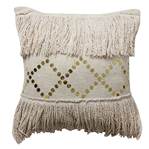 ThymeHome Magnolia Fringe Hand Woven Dhurri Indoor Pillow – 100 Cotton Decorative Accent Pillow 18×18 Inch Natural