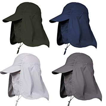 ac3b9a11e Jormatt Women & Men Outdoor Sun Hat UV Protection Fishing Hiking Caps with  Face Neck Flap Cover UPF 50+