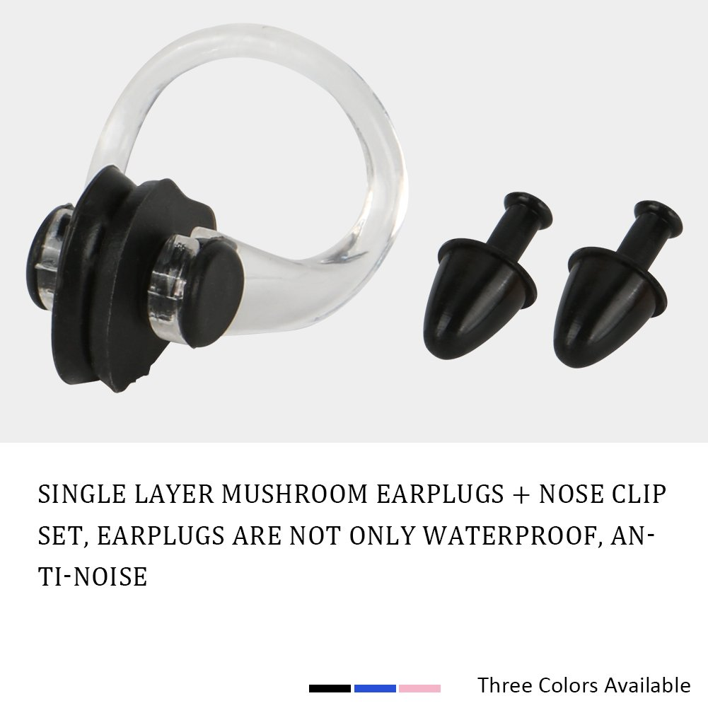 Silicone Soft Waterproof Earplugs Nose Clips Sets for Swimming with Case 3 PCS Merssyria Swimming Earplugs and Nose Clips