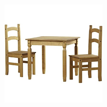 53b2895c4d 2 Seater Dining Table and Chairs Set, Solid Pine Wood Mexican Furniture  Modern Stylish Design for Dining Room: Amazon.co.uk: Kitchen & Home