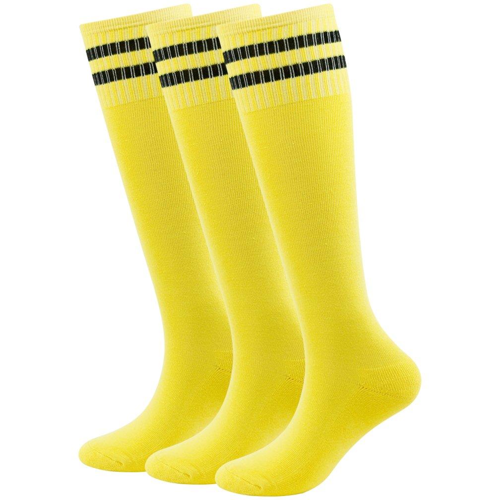 Fasoar Teens Baseball Socks Athletic Gym Fit Running Knee Striped Football Soccer Socks 3 Pairs Yellow by Fasoar