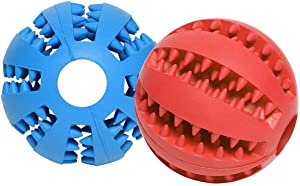 Emoly Dog Ball Toys for Pet Tooth Cleaning/Chewing/Playing, Iq Treat Ball Food Dispensing Toys of 2 Pcs Non-Toxic Soft Rubber Ball (Blue&Red)
