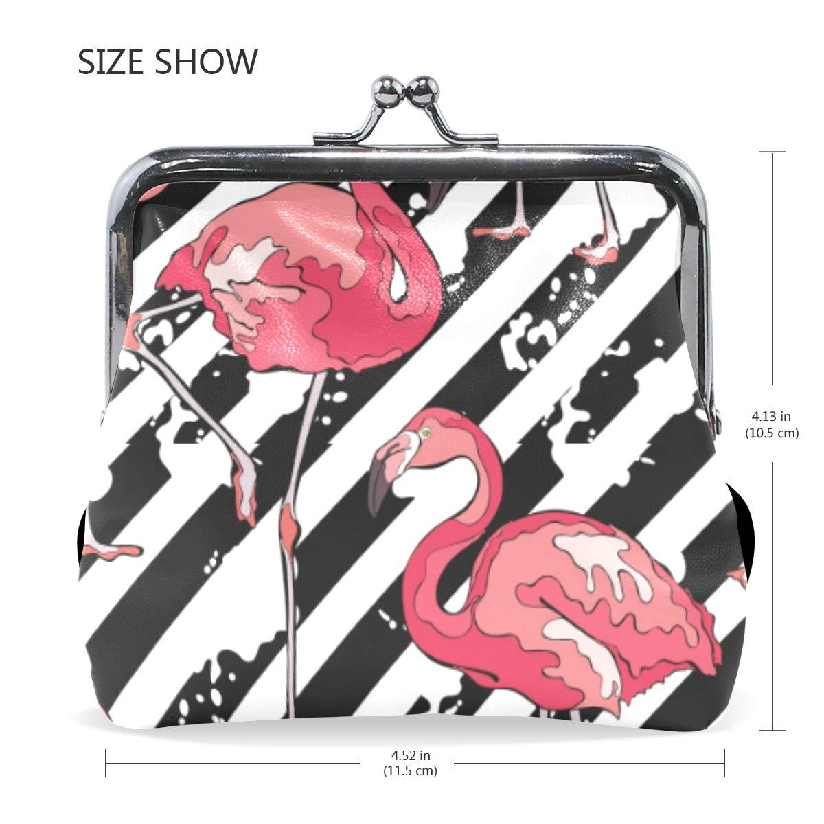 WIHVE Fashion Womens Coin Purse Colorful Flamingos Striped Vintage Pouch Mini Purse Wallets