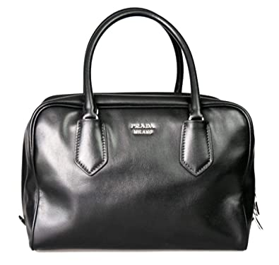 ce51d40d255c Amazon.com: Prada Womens Soft Calf Inside Tote - Black/Blue Leather: Shoes
