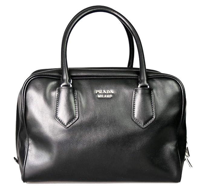 825dcf7b224749 Amazon.com: Prada Womens Soft Calf Inside Tote - Black/Blue Leather: Shoes