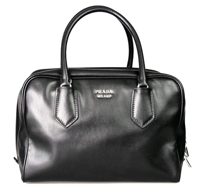 2713d510b4 Prada Womens Soft Calf Inside Tote - Black Blue Leather  Handbags   Amazon.com
