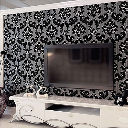 Damask Stripes Wallpaper - QIHANG Luxury Extra-Thick Non-Woven 3D Dimensional Flocking Damask Embossed Wallpaper Roll Black Color