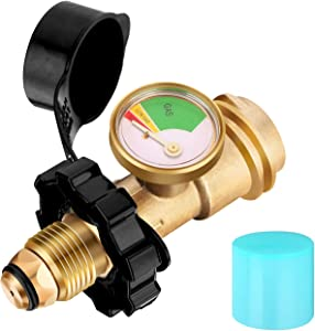 WADEO Upgraded POL Propane Tank Adapter with Gauge Converts POL LP Tank Service Valve to QCC1 / Type 1, Universal Propane Tank Gauge for Propane Cylinder, BBQ Gas Grill, Heater