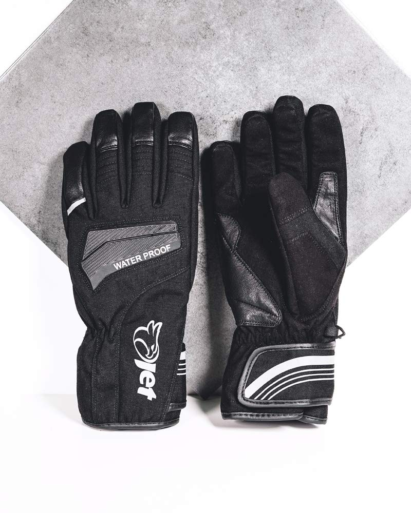 JET Motorcycle Motorbike Gloves Light Weight Waterproof Thermal Knuckle Protection Reflective Detailing AquaTex XL, Black