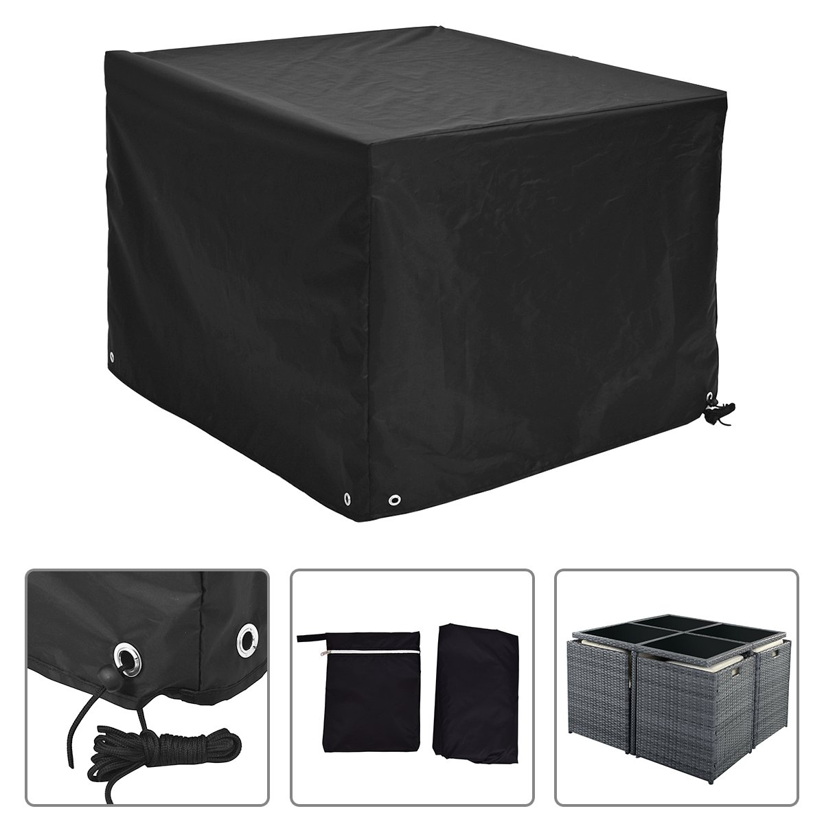 Costway Square Furniture Covers Patio Rattan Waterproof Cover Chair Table Protection (123CM x 123CM x 74CM)