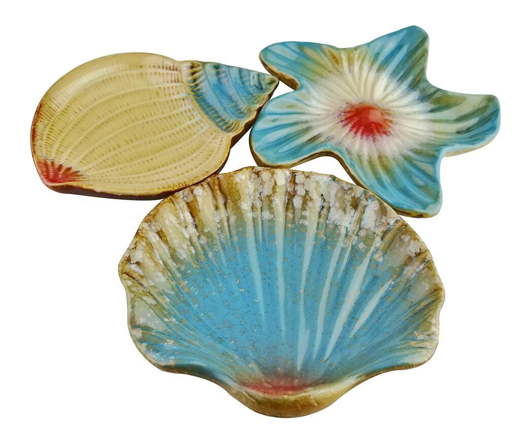 Vintage Mediterranean Style Ocean Starfish Seashell Sea Snail Conch Shape Pattern Ceramic Snack Candy Fruit Sushi Dessert Jewelry Plates Dinnerware Trays Home Decoration Housewarming Gift- Set of 3 Winterworm