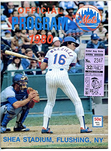 1980 NEW YORK METS PROGAM & SCORECARD-SHEA STADIUM-TICKET STUB ATTACHEDMLB-good Mets Stadium Tickets