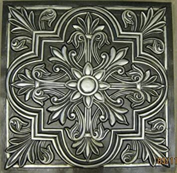 Victorian 302 Antique Silver Pack of 10 Tiles Decorative Plastic 24 x 24 FIRE Rated.A