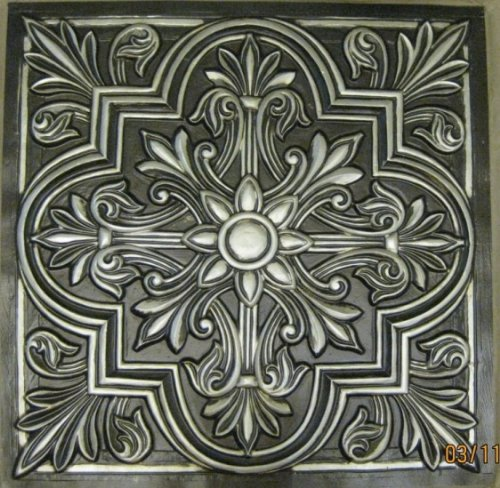 Victorian #302 Antique Silver Pack of 10 Tiles Decorative Plastic 24