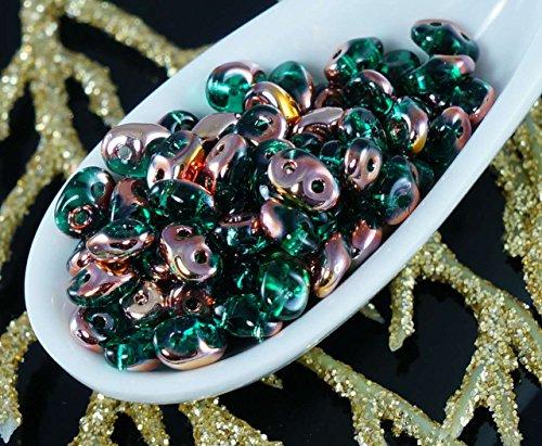 20g Emerald Capri Gold SUPERDUO Czech Glass Seed Beads Two Hole Super Duo 2.5mm x 5mm (Superduo Beads Emerald)