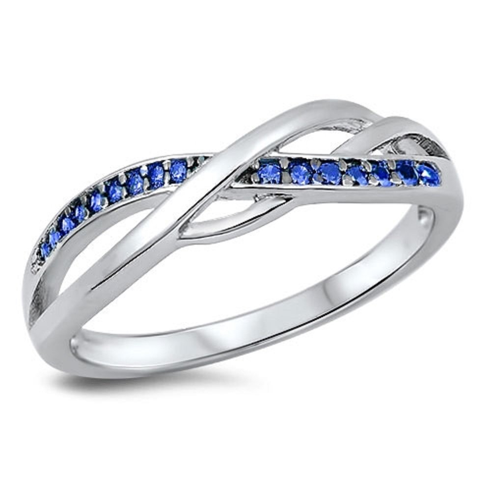 Simulated Sapphire Cubic Zirconia Intertwined Infinity Ring 925 Sterling Silver Size 8