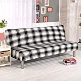 RUGAI-UE Sofa Slipcover Folding simple armless sofa bed cover living room sofa cover full frontal fitted type cover all seasons non slip,160-195cm sofa bed use,Black white plaid (thickening)