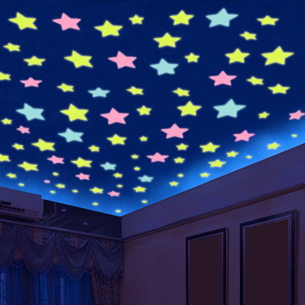 WFL Decken Schlafzimmer 3D leuchtende Sterne Fluoreszierende Aufkleber Zimmer Wanddekoration Selbstklebende Tapete Wandaufkleber Groß