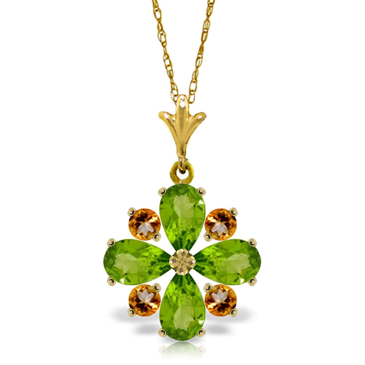 ALARRI 2.43 Carat 14K Solid Gold Amethyst Of Love Peridot Citrine Necklace with 20 Inch Chain Length